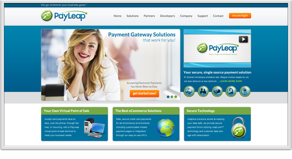 PayLeap Home page - 2012
